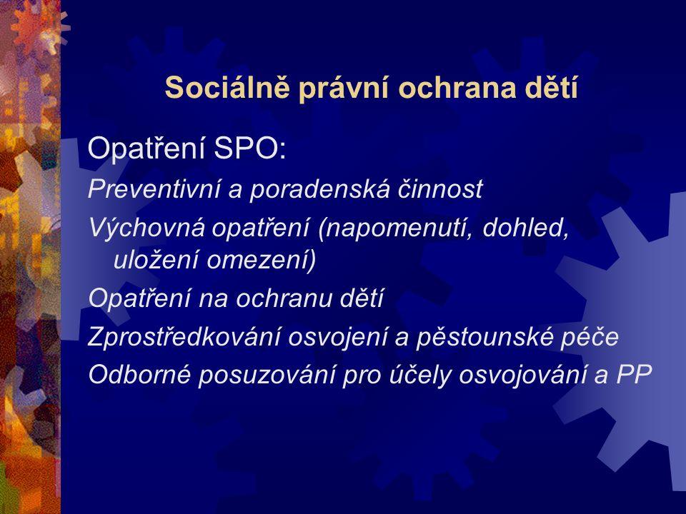 Sociálně právní ochrana dětí Opatření SPO: Preventivní a poradenská činnost Výchovná opatření (napomenutí, dohled, uložení omezení) Opatření na ochran