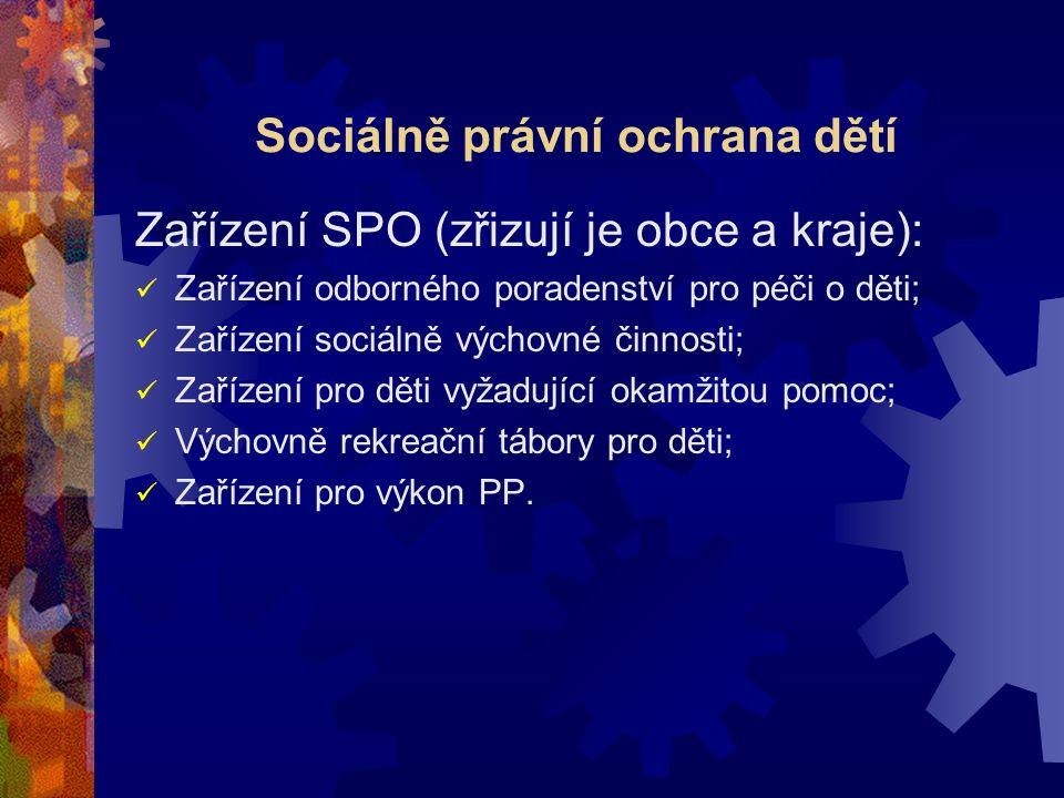 Sociálně právní ochrana dětí Zařízení SPO (zřizují je obce a kraje): Zařízení odborného poradenství pro péči o děti; Zařízení sociálně výchovné činnos