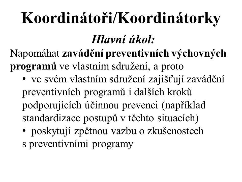 Koordinátoři/Koordinátorky Hlavní úkol: Napomáhat zavádění preventivních výchovných programů ve vlastním sdružení, a proto ve svém vlastním sdružení zajišťují zavádění preventivních programů i dalších kroků podporujících účinnou prevenci (například standardizace postupů v těchto situacích) poskytují zpětnou vazbu o zkušenostech s preventivními programy