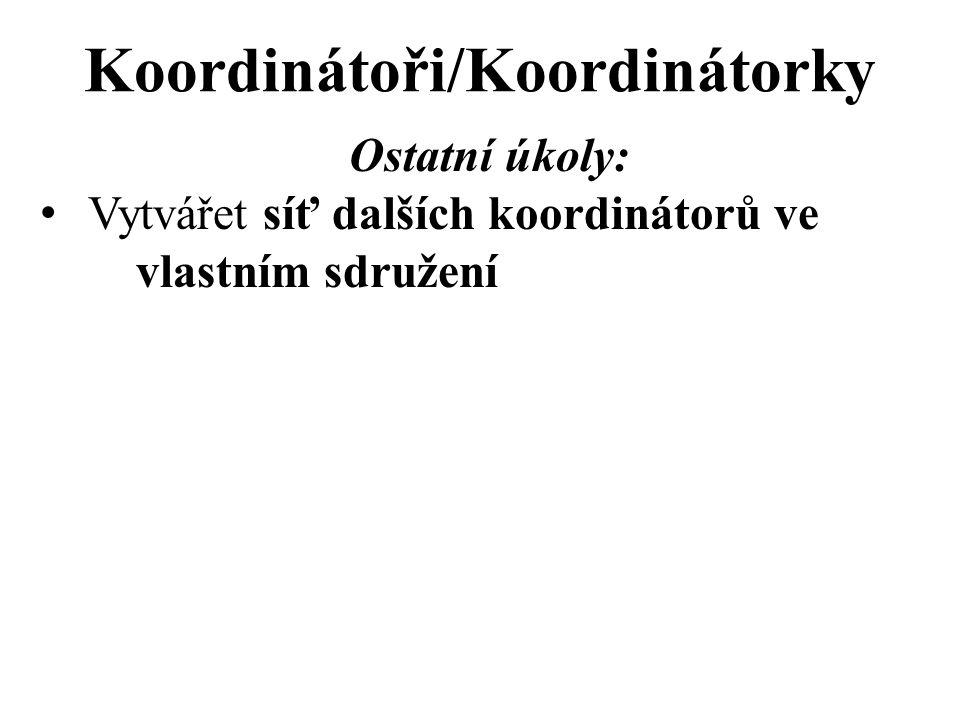 Koordinátoři/Koordinátorky Ostatní úkoly: Vytvářet síť dalších koordinátorů ve vlastním sdružení
