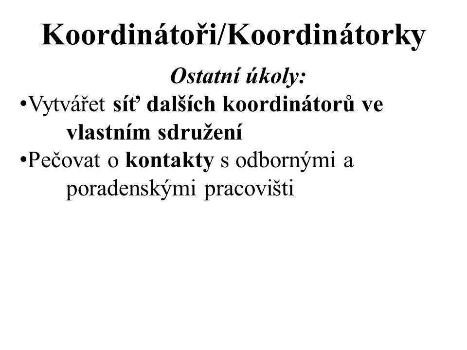 Koordinátoři/Koordinátorky Ostatní úkoly: Vytvářet síť dalších koordinátorů ve vlastním sdružení Pečovat o kontakty s odbornými a poradenskými pracovišti