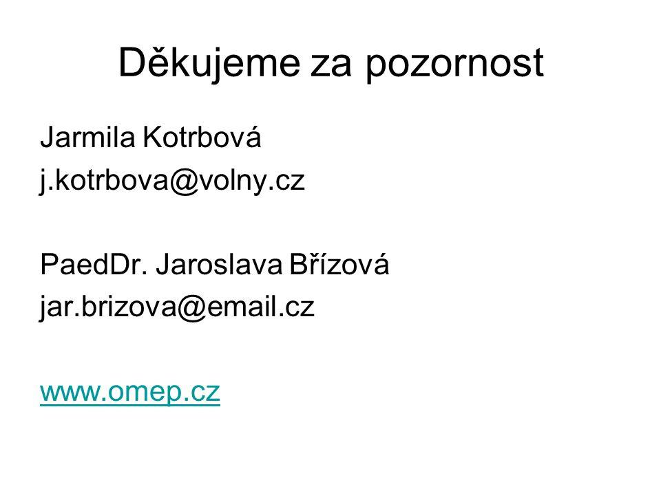 Děkujeme za pozornost Jarmila Kotrbová j.kotrbova@volny.cz PaedDr.