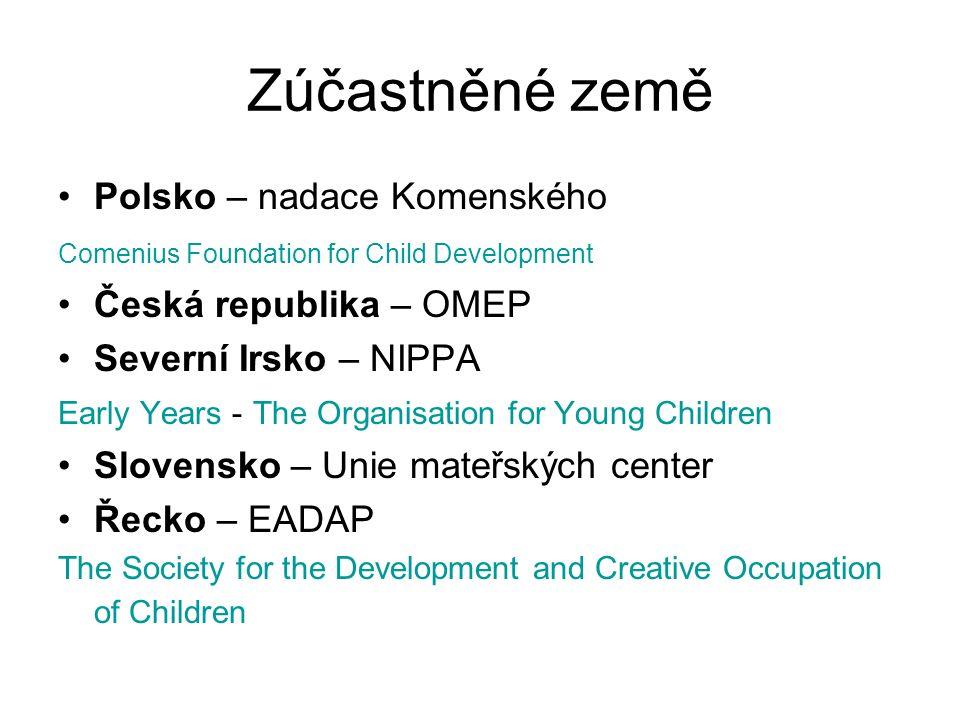 Zúčastněné země Polsko – nadace Komenského Comenius Foundation for Child Development Česká republika – OMEP Severní Irsko – NIPPA Early Years - The Or