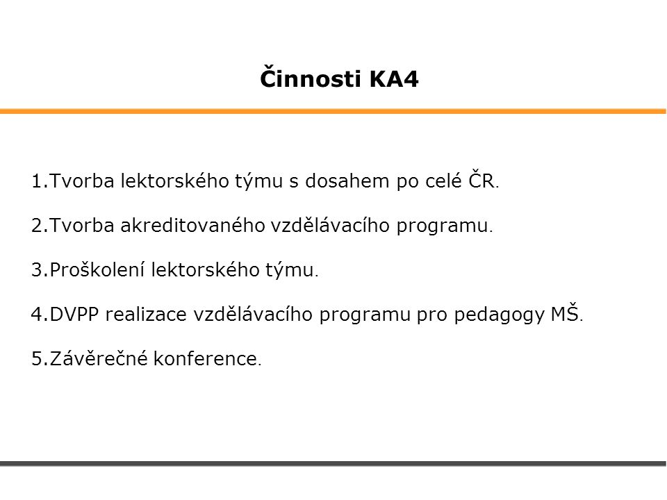 Činnosti KA4 1.Tvorba lektorského týmu s dosahem po celé ČR. 2.Tvorba akreditovaného vzdělávacího programu. 3.Proškolení lektorského týmu. 4.DVPP real