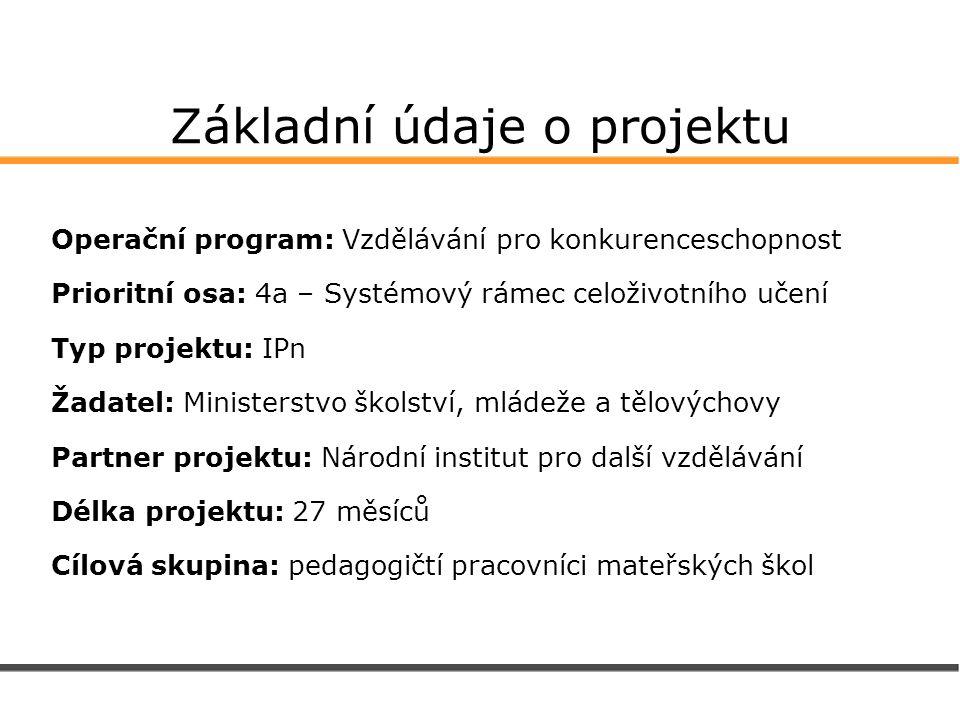 Základní údaje o projektu Operační program: Vzdělávání pro konkurenceschopnost Prioritní osa: 4a – Systémový rámec celoživotního učení Typ projektu: I
