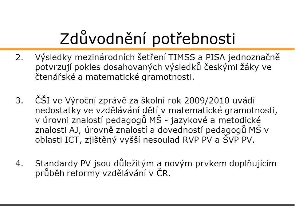Zdůvodnění potřebnosti 2.Výsledky mezinárodních šetření TIMSS a PISA jednoznačně potvrzují pokles dosahovaných výsledků českými žáky ve čtenářské a ma
