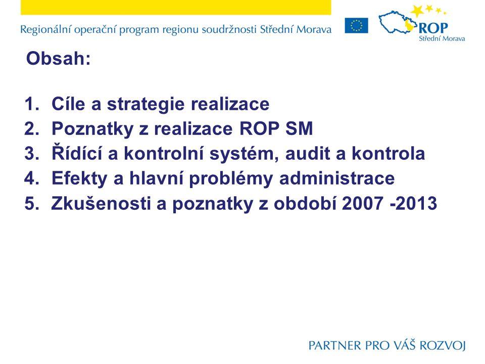1.Cíle a strategie realizace 2.Poznatky z realizace ROP SM 3.Řídící a kontrolní systém, audit a kontrola 4.Efekty a hlavní problémy administrace 5.Zku
