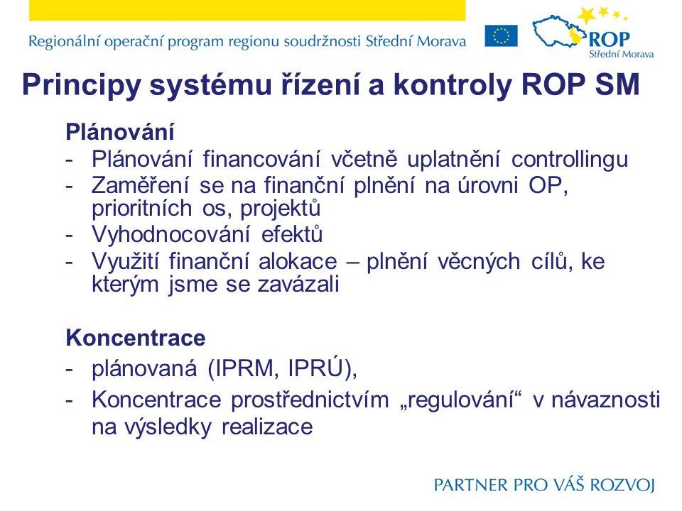 Principy systému řízení a kontroly ROP SM Plánování -Plánování financování včetně uplatnění controllingu -Zaměření se na finanční plnění na úrovni OP,