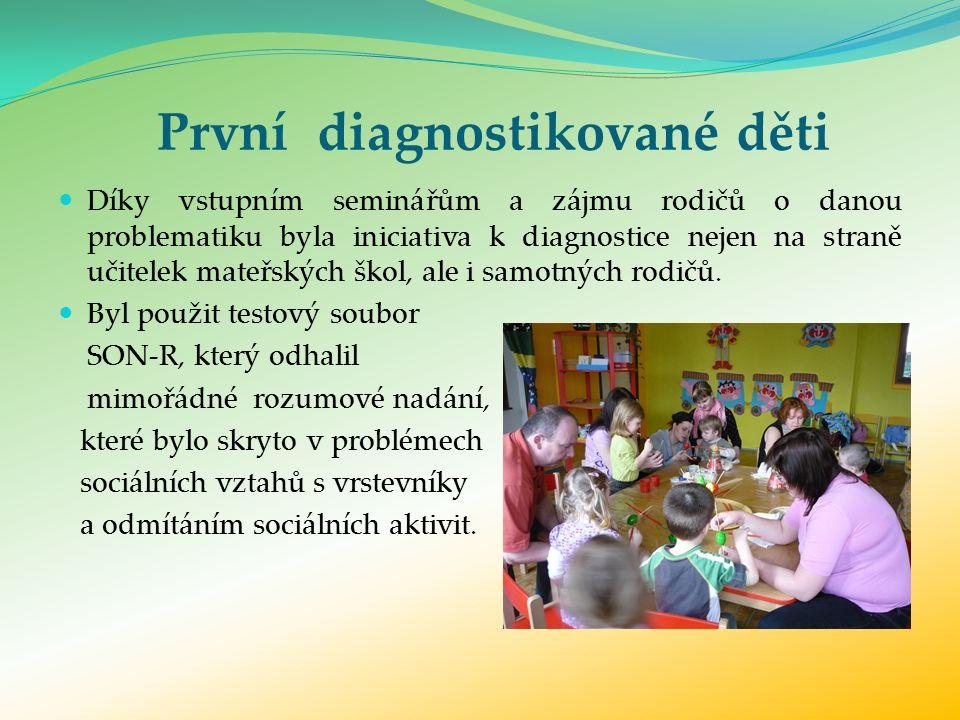 První diagnostikované děti Díky vstupním seminářům a zájmu rodičů o danou problematiku byla iniciativa k diagnostice nejen na straně učitelek mateřských škol, ale i samotných rodičů.