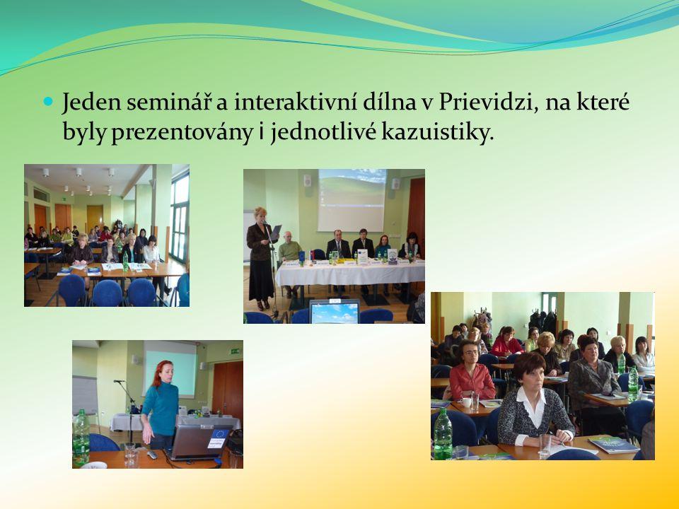 Jeden seminář a interaktivní dílna v Prievidzi, na které byly prezentovány i jednotlivé kazuistiky.