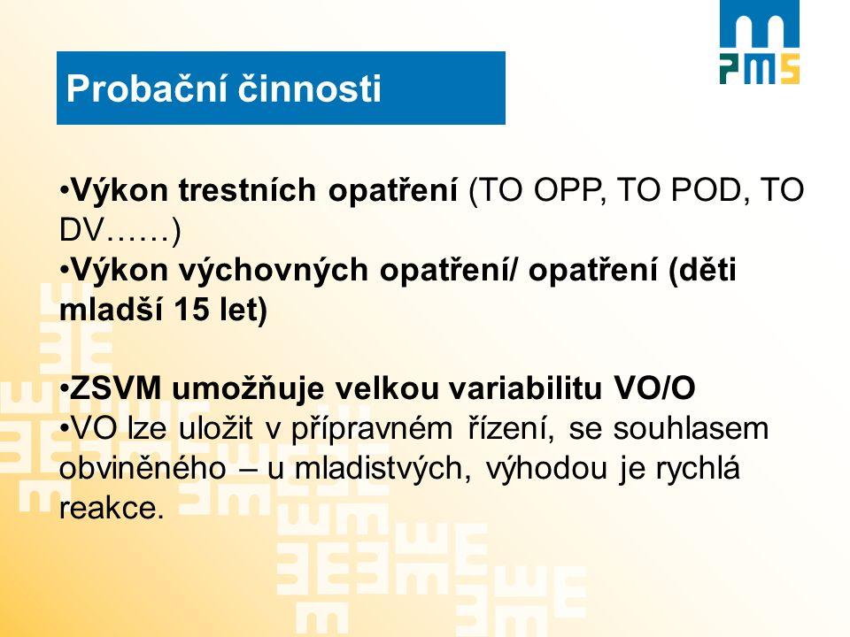 Probační činnosti Výkon trestních opatření (TO OPP, TO POD, TO DV……) Výkon výchovných opatření/ opatření (děti mladší 15 let) ZSVM umožňuje velkou var
