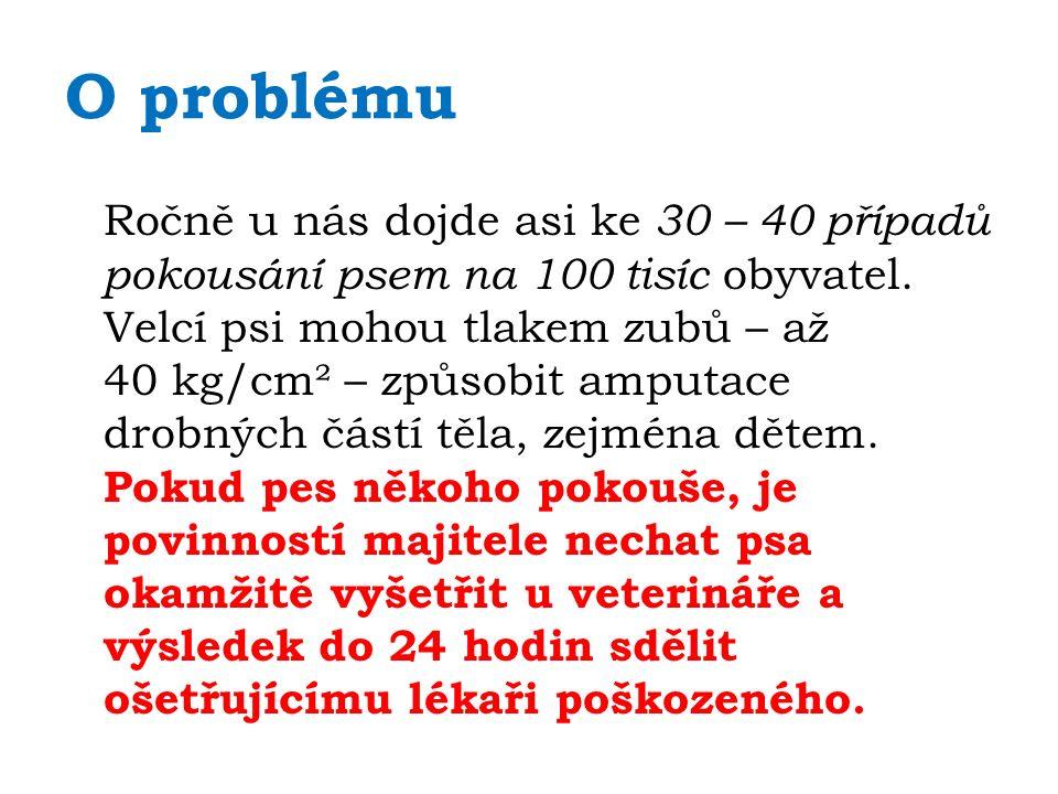 O problému Ročně u nás dojde asi ke 30 – 40 případů pokousání psem na 100 tisíc obyvatel.