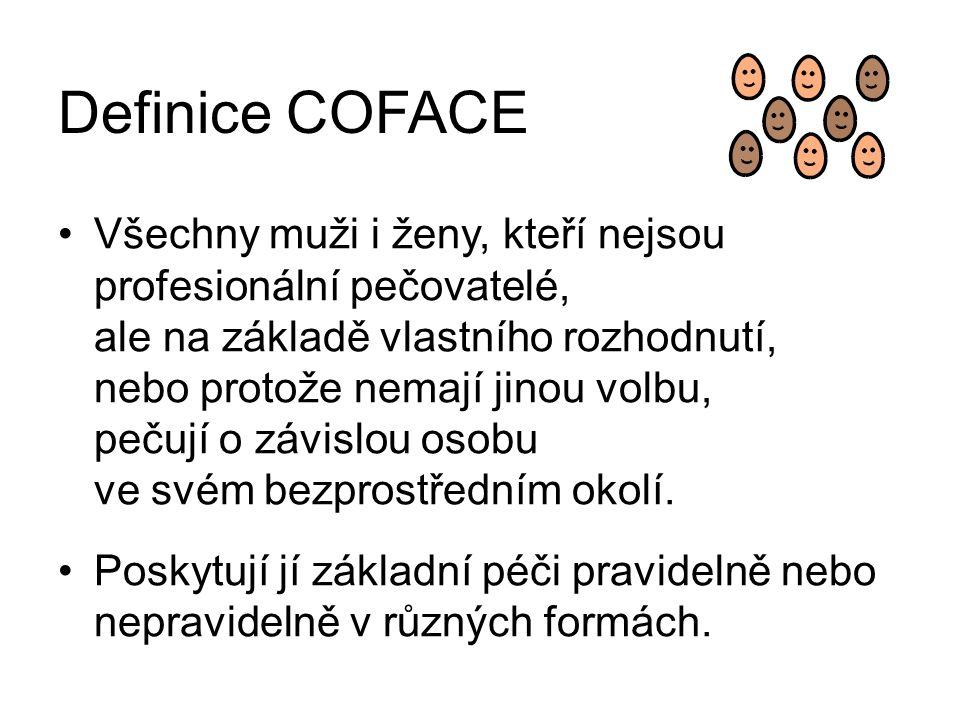 Definice COFACE Všechny muži i ženy, kteří nejsou profesionální pečovatelé, ale na základě vlastního rozhodnutí, nebo protože nemají jinou volbu, pečují o závislou osobu ve svém bezprostředním okolí.