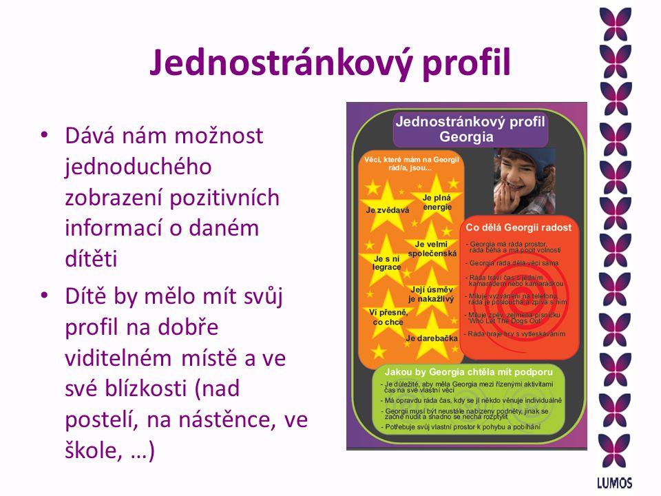 Jednostránkový profil Dává nám možnost jednoduchého zobrazení pozitivních informací o daném dítěti Dítě by mělo mít svůj profil na dobře viditelném místě a ve své blízkosti (nad postelí, na nástěnce, ve škole, …)