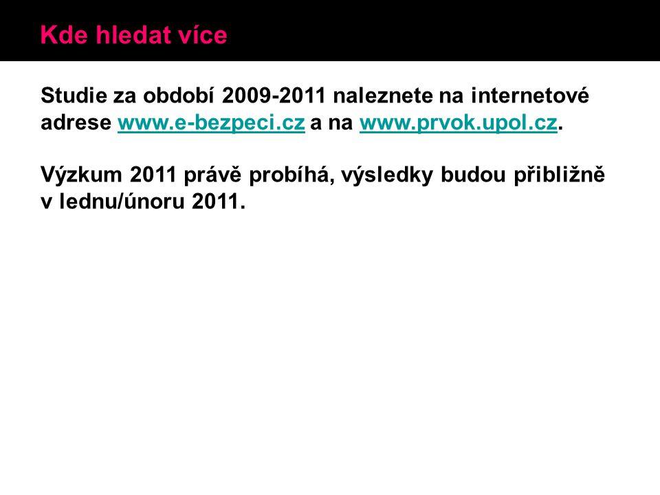 Kde hledat více Studie za období 2009-2011 naleznete na internetové adrese www.e-bezpeci.cz a na www.prvok.upol.cz.www.e-bezpeci.czwww.prvok.upol.cz Výzkum 2011 právě probíhá, výsledky budou přibližně v lednu/únoru 2011.