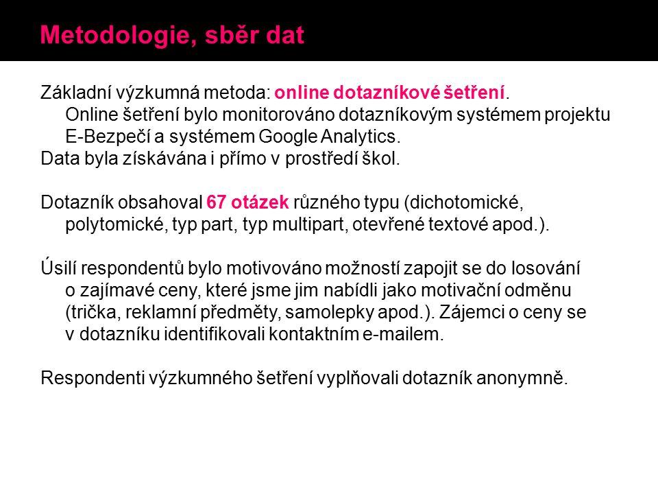 Metodologie, sběr dat Základní výzkumná metoda: online dotazníkové šetření.