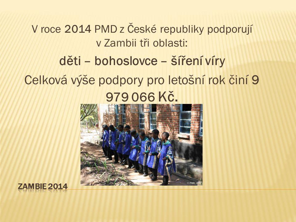 V roce 2014 PMD z České republiky podporují v Zambii tři oblasti: děti – bohoslovce – šíření víry Celková výše podpory pro letošní rok činí 9 979 066 Kč.