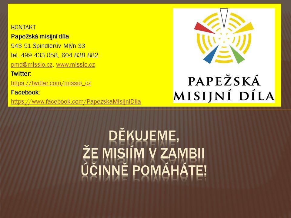 KONTAKT Papežská misijní díla 543 51 Špindlerův Mlýn 33 tel.
