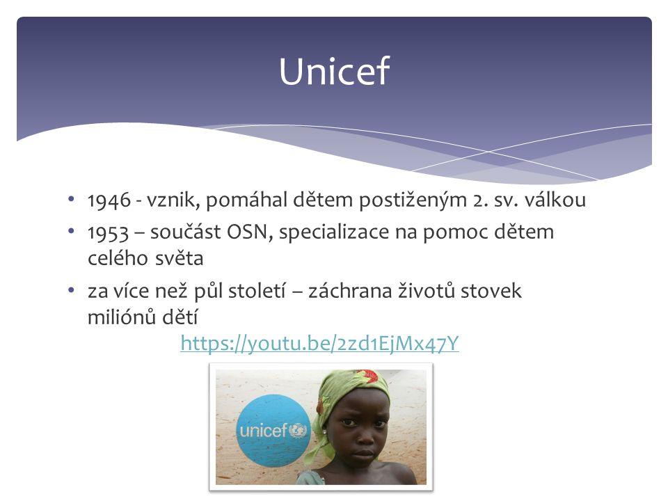 1946 - vznik, pomáhal dětem postiženým 2.sv.