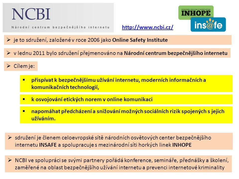  sdružení je členem celoevropské sítě národních osvětových center bezpečnějšího internetu INSAFE a spolupracuje s mezinárodní síti horkých linek INHOPE  NCBI ve spolupráci se svými partnery pořádá konference, semináře, přednášky a školení, zaměřené na oblast bezpečnějšího užívání internetu a prevenci internetové kriminality  je to sdružení, založené v roce 2006 jako Online Safety Institute  v lednu 2011 bylo sdružení přejmenováno na Národní centrum bezpečnějšího internetu  přispívat k bezpečnějšímu užívání internetu, moderních informačních a komunikačních technologií,  Cílem je:  k osvojování etických norem v online komunikaci  napomáhat předcházení a snižování možných sociálních rizik spojených s jejich užíváním.