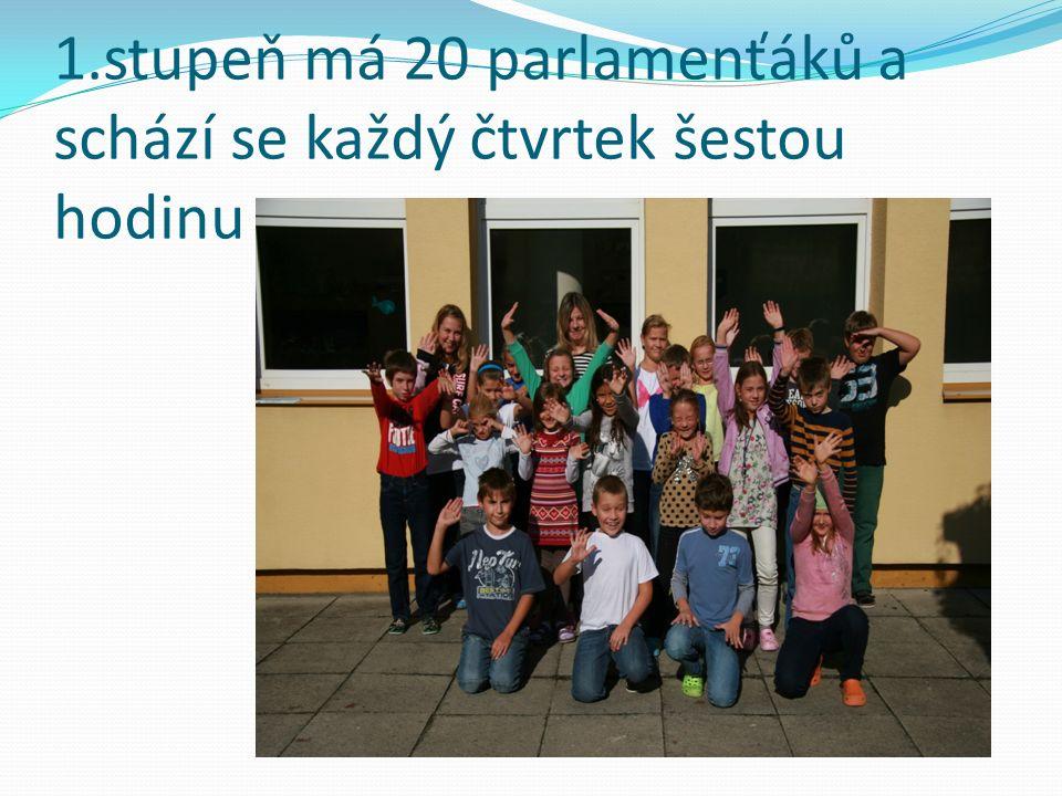 1.stupeň má 20 parlamenťáků a schází se každý čtvrtek šestou hodinu