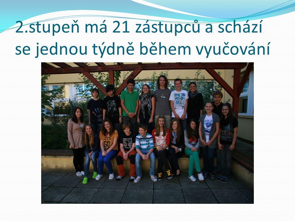 2.stupeň má 21 zástupců a schází se jednou týdně během vyučování