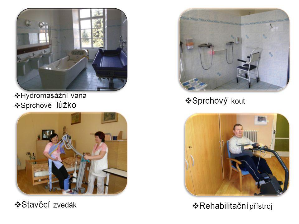  Hydromasážní vana  Sprchové lůžko  Sprchový kout  Stavěcí zvedák  Rehabilitační přístroj