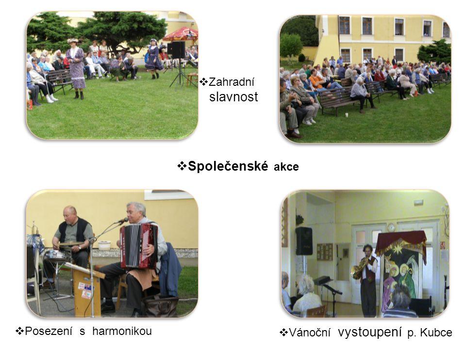  Posezení s harmonikou  Vánoční vystoupení p. Kubce  Zahradní slavnost  Společenské akce
