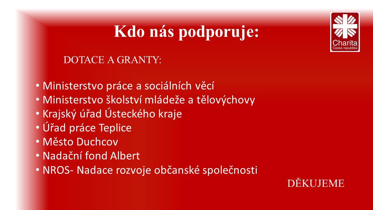 Kdo nás podporuje: DOTACE A GRANTY: Ministerstvo práce a sociálních věcí Ministerstvo školství mládeže a tělovýchovy Krajský úřad Ústeckého kraje Úřad