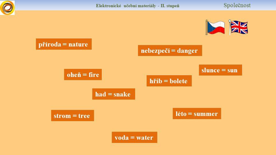 Elektronické učební materiály - II. stupeň Společnost příroda = nature strom = tree oheň = fire voda = water nebezpečí = danger had = snake hřib = bol