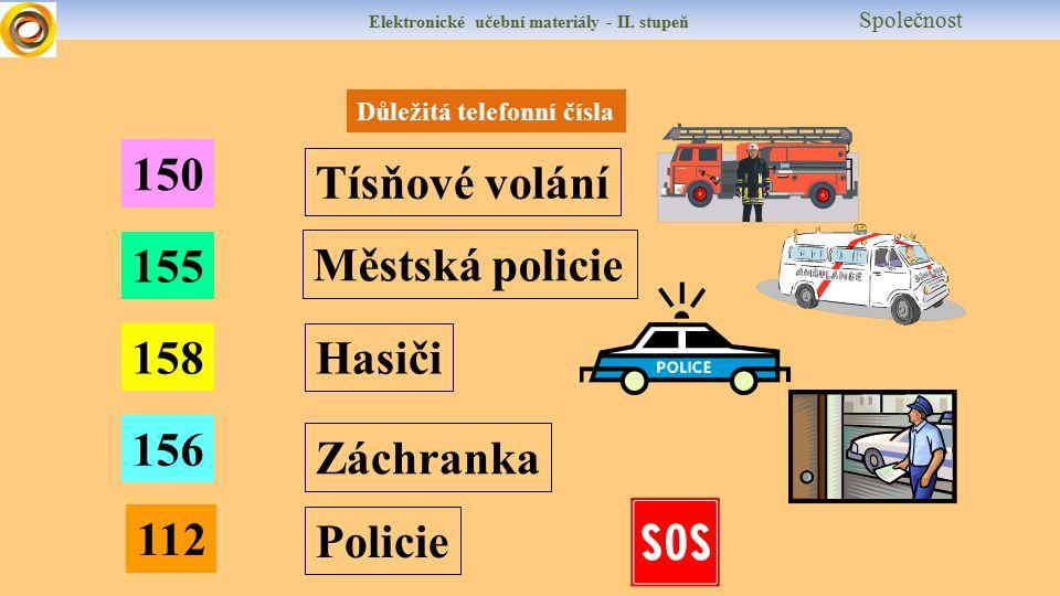 Elektronické učební materiály - II. stupeň Společnost Důležitá telefonní čísla 150 155 158 156 112 Hasiči Záchranka Policie Městská policie Tísňové vo