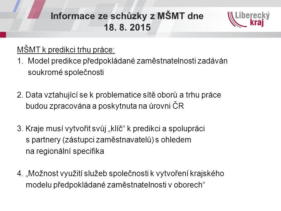 Informace ze schůzky z MŠMT dne 18. 8. 2015 MŠMT k predikci trhu práce: 1. Model predikce předpokládané zaměstnatelnosti zadáván soukromé společnosti