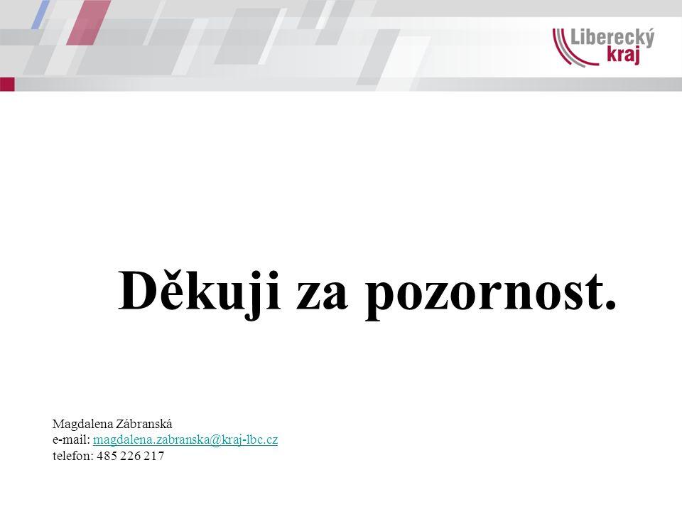 Děkuji za pozornost. Magdalena Zábranská e-mail: magdalena.zabranska@kraj-lbc.czmagdalena.zabranska@kraj-lbc.cz telefon: 485 226 217