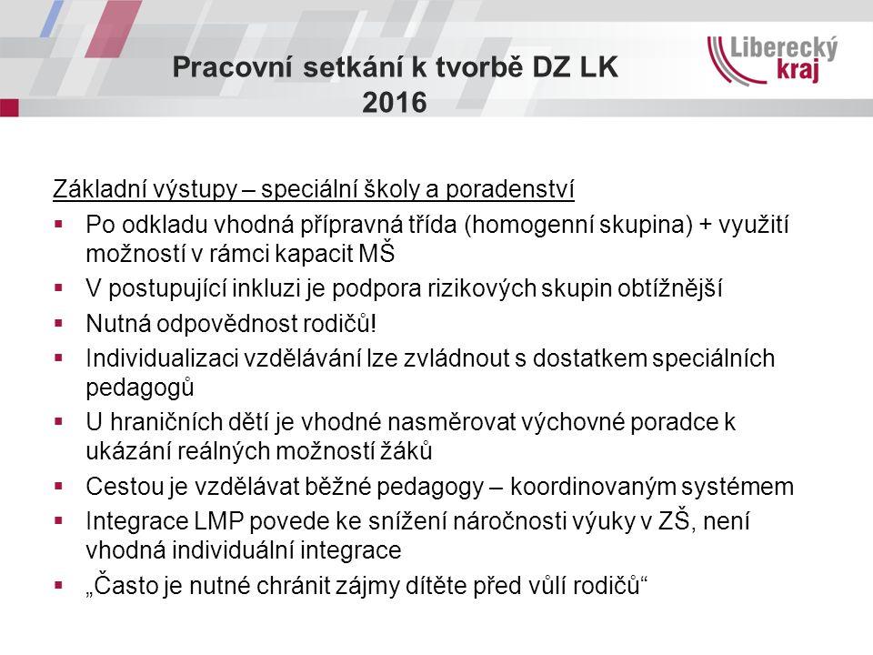 Pracovní setkání k tvorbě DZ LK 2016 Základní výstupy – speciální školy a poradenství  Po odkladu vhodná přípravná třída (homogenní skupina) + využit