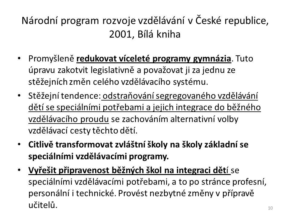Národní program rozvoje vzdělávání v České republice, 2001, Bílá kniha Promyšleně redukovat víceleté programy gymnázia. Tuto úpravu zakotvit legislati