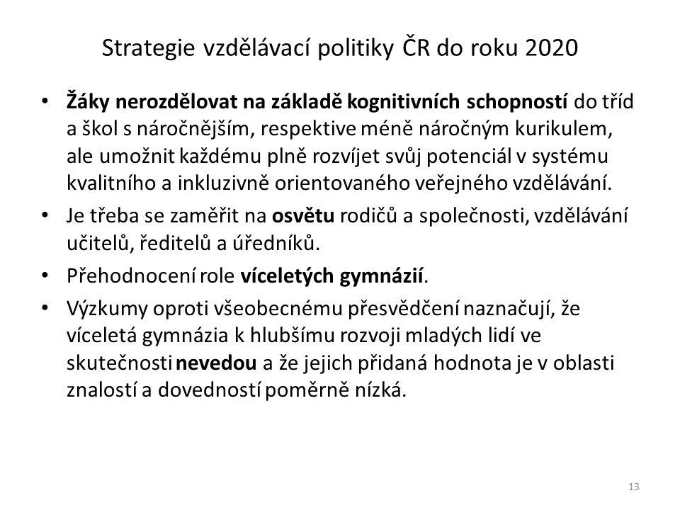Strategie vzdělávací politiky ČR do roku 2020 Žáky nerozdělovat na základě kognitivních schopností do tříd a škol s náročnějším, respektive méně náročným kurikulem, ale umožnit každému plně rozvíjet svůj potenciál v systému kvalitního a inkluzivně orientovaného veřejného vzdělávání.
