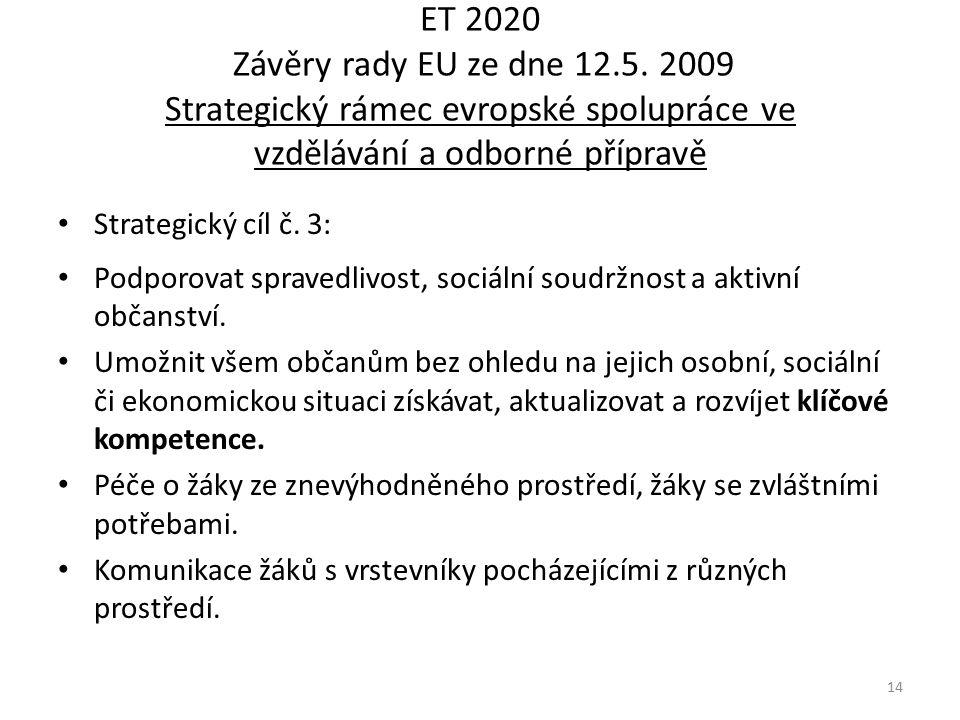 ET 2020 Závěry rady EU ze dne 12.5. 2009 Strategický rámec evropské spolupráce ve vzdělávání a odborné přípravě Strategický cíl č. 3: Podporovat sprav