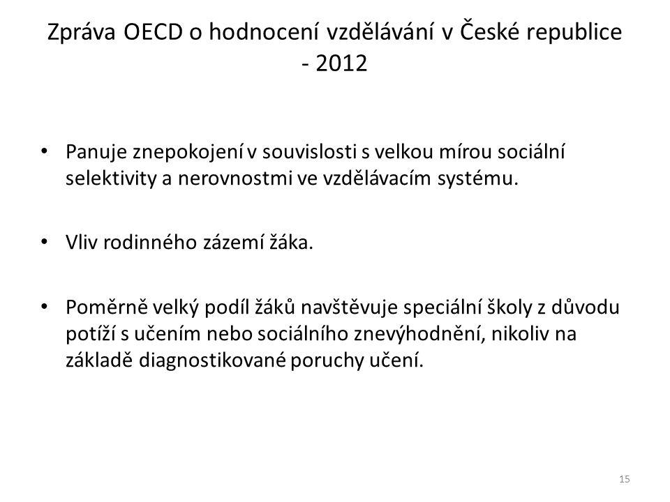 Zpráva OECD o hodnocení vzdělávání v České republice - 2012 Panuje znepokojení v souvislosti s velkou mírou sociální selektivity a nerovnostmi ve vzdělávacím systému.