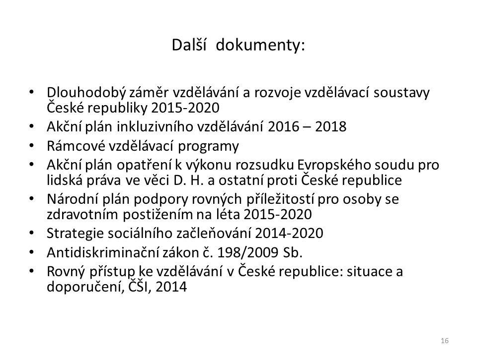 Další dokumenty: Dlouhodobý záměr vzdělávání a rozvoje vzdělávací soustavy České republiky 2015-2020 Akční plán inkluzivního vzdělávání 2016 – 2018 Rámcové vzdělávací programy Akční plán opatření k výkonu rozsudku Evropského soudu pro lidská práva ve věci D.