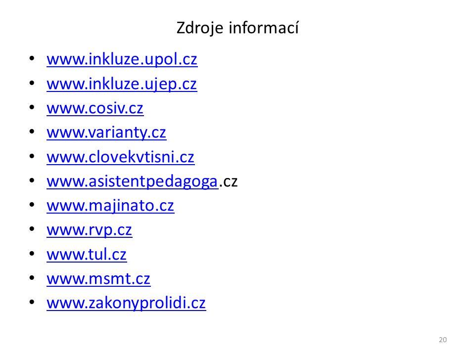Zdroje informací www.inkluze.upol.cz www.inkluze.ujep.cz www.cosiv.cz www.varianty.cz www.clovekvtisni.cz www.asistentpedagoga.cz www.asistentpedagoga www.majinato.cz www.rvp.cz www.tul.cz www.msmt.cz www.zakonyprolidi.cz 20