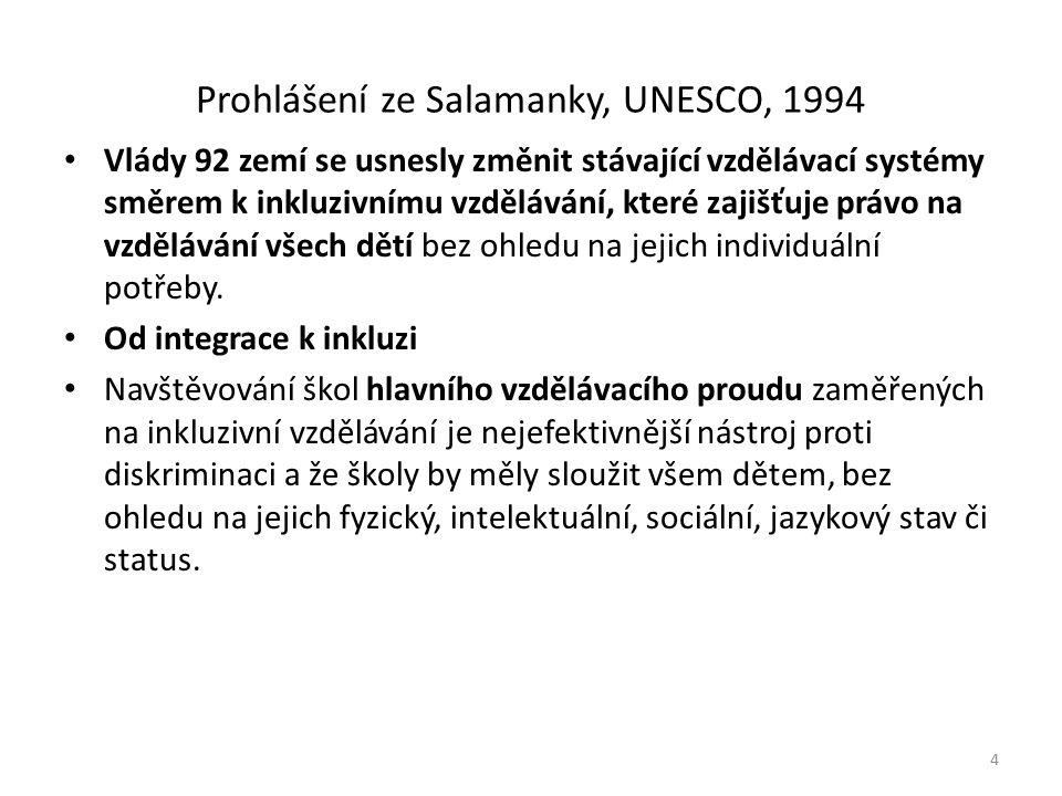 Prohlášení ze Salamanky, UNESCO, 1994 Vlády 92 zemí se usnesly změnit stávající vzdělávací systémy směrem k inkluzivnímu vzdělávání, které zajišťuje právo na vzdělávání všech dětí bez ohledu na jejich individuální potřeby.