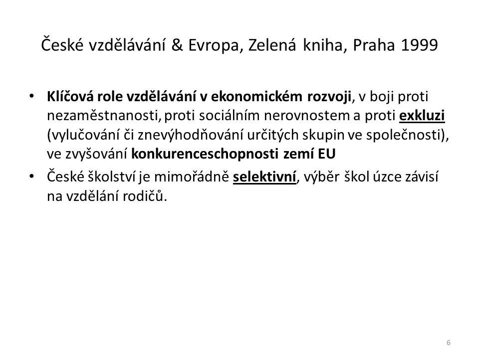 České vzdělávání & Evropa, Zelená kniha, Praha 1999 Klíčová role vzdělávání v ekonomickém rozvoji, v boji proti nezaměstnanosti, proti sociálním nerovnostem a proti exkluzi (vylučování či znevýhodňování určitých skupin ve společnosti), ve zvyšování konkurenceschopnosti zemí EU České školství je mimořádně selektivní, výběr škol úzce závisí na vzdělání rodičů.
