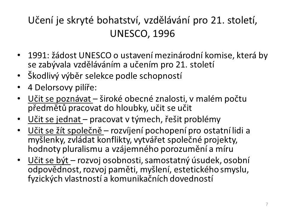 Učení je skryté bohatství, vzdělávání pro 21. století, UNESCO, 1996 1991: žádost UNESCO o ustavení mezinárodní komise, která by se zabývala vzdělávání