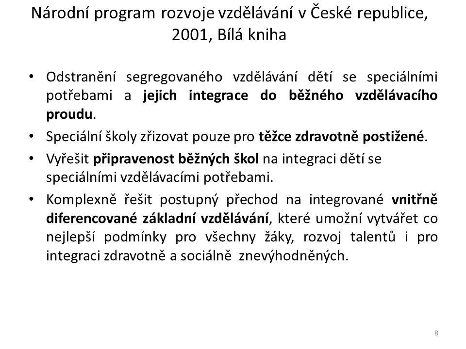 Národní program rozvoje vzdělávání v České republice, 2001, Bílá kniha Odstranění segregovaného vzdělávání dětí se speciálními potřebami a jejich integrace do běžného vzdělávacího proudu.