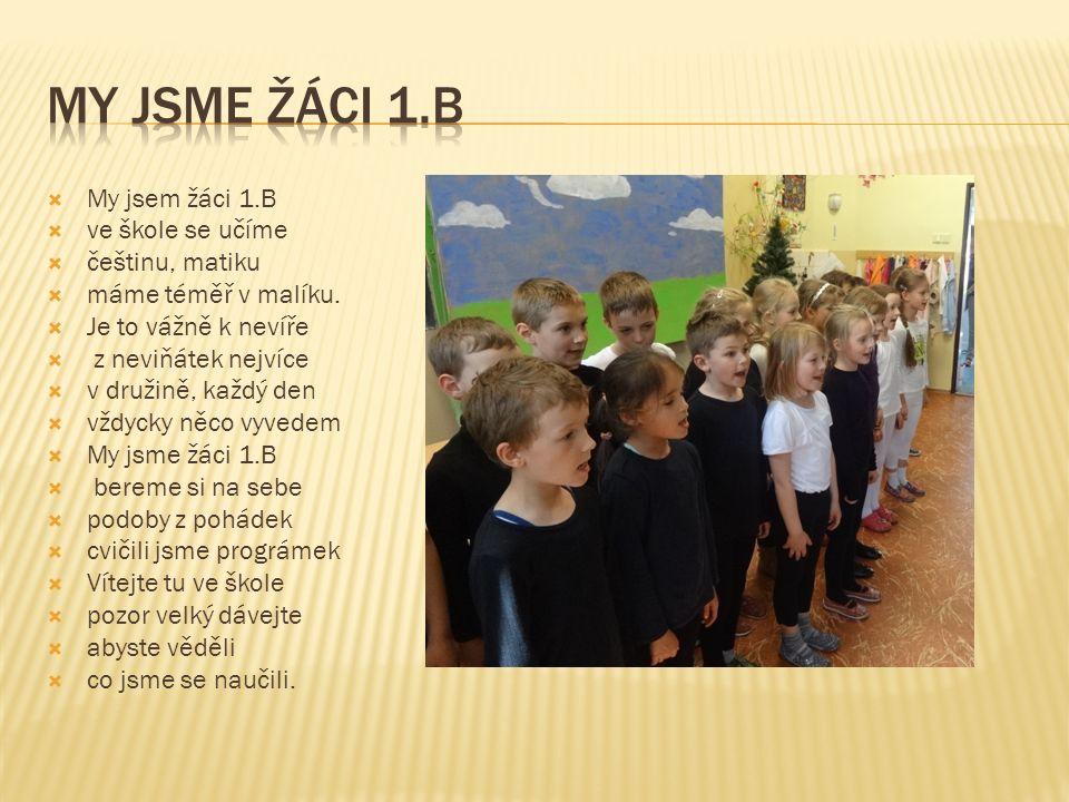  My jsem žáci 1.B  ve škole se učíme  češtinu, matiku  máme téměř v malíku.  Je to vážně k nevíře  z neviňátek nejvíce  v družině, každý den 