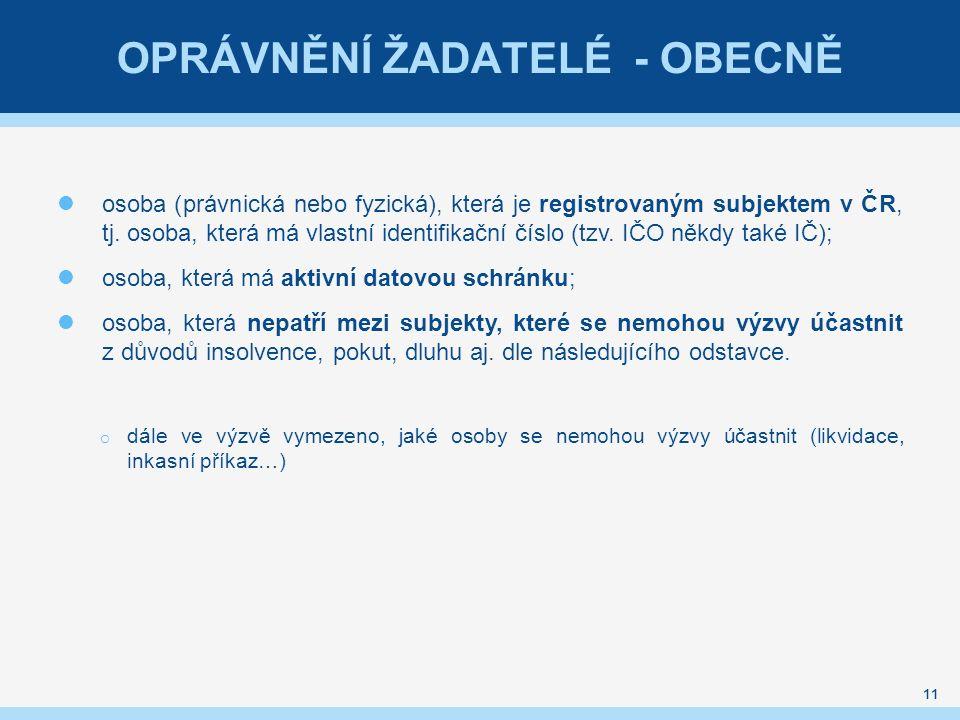 OPRÁVNĚNÍ ŽADATELÉ - OBECNĚ osoba (právnická nebo fyzická), která je registrovaným subjektem v ČR, tj.