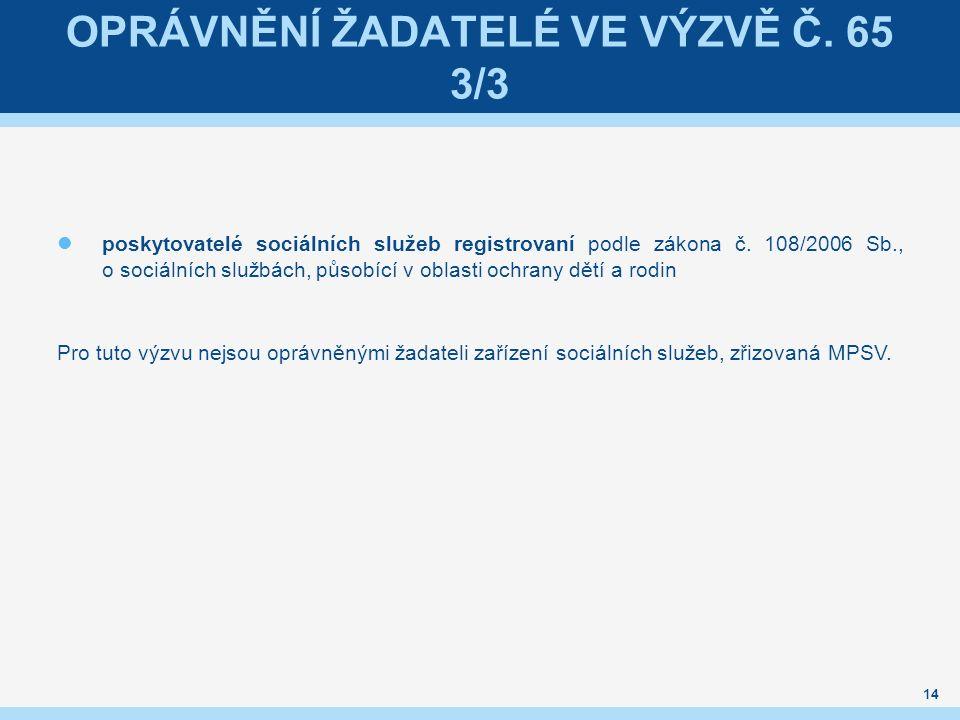OPRÁVNĚNÍ ŽADATELÉ VE VÝZVĚ Č.65 3/3 poskytovatelé sociálních služeb registrovaní podle zákona č.