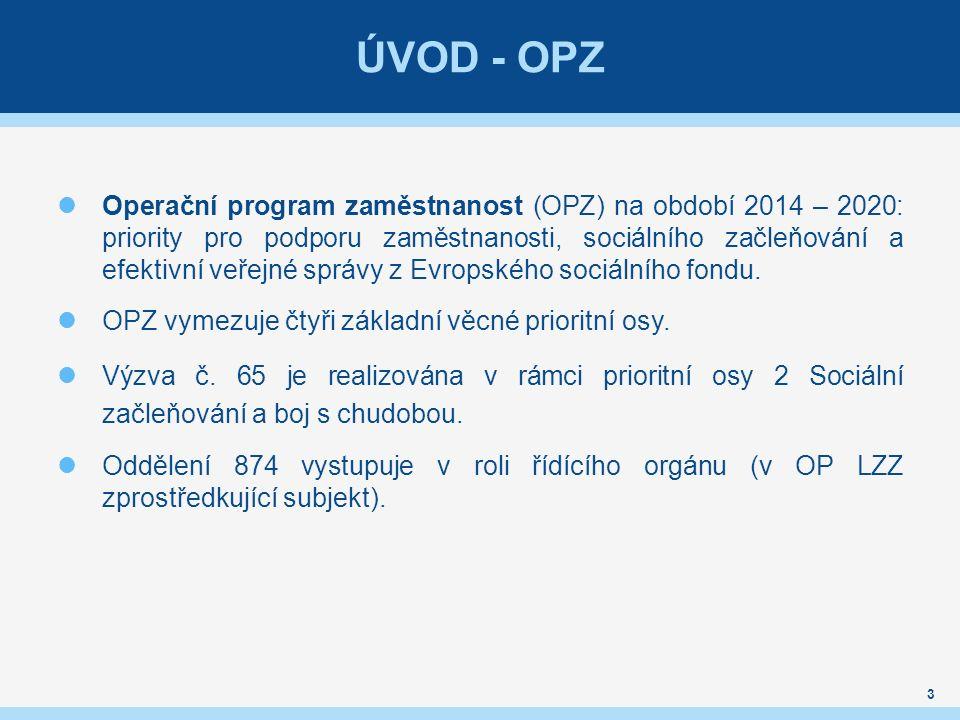 ÚVOD - OPZ Operační program zaměstnanost (OPZ) na období 2014 – 2020: priority pro podporu zaměstnanosti, sociálního začleňování a efektivní veřejné správy z Evropského sociálního fondu.