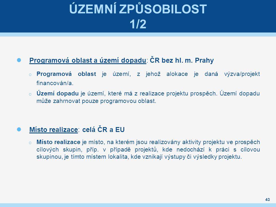 ÚZEMNÍ ZPŮSOBILOST 1/2 Programová oblast a území dopadu: ČR bez hl.