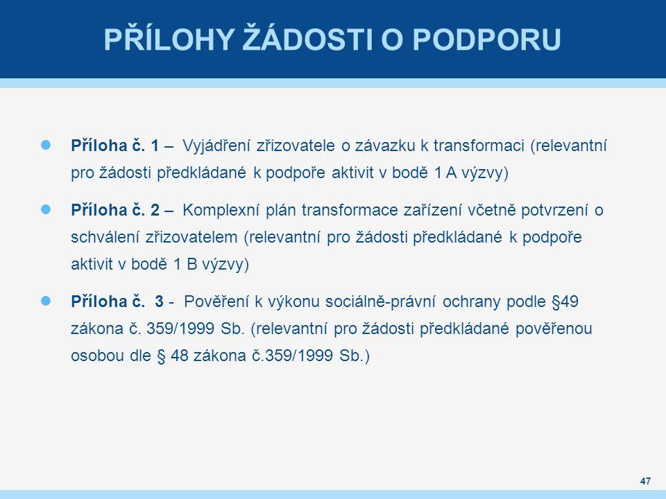 PŘÍLOHY ŽÁDOSTI O PODPORU Příloha č.